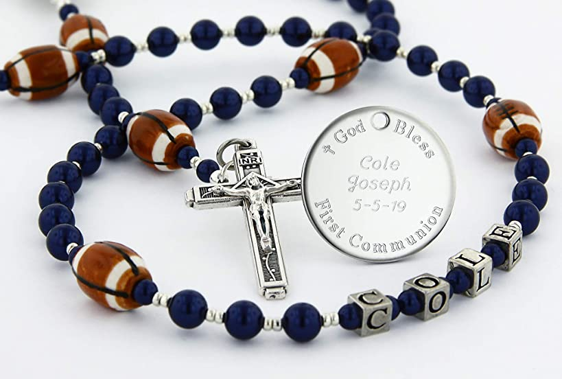 Football First Holy Communion Personalized Rosary Beads