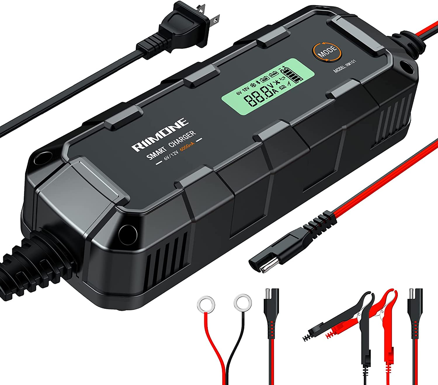 RIIMONE Smart Battery Charger, Trickle Chargers and Maintainer, Automotive...