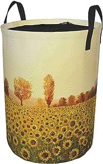 ZOMOY Grand Organiser Paniers pour Vêtements Stockage,Champ de fleurs de soleil au coucher du soleil fond de forêt avec pe...