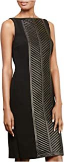 $798 Womens New 1182 Black Faux Leather Panel Sheath Dress 12 B+B