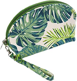 HOYOFO Canvas Makeup Bags Womens Cosemetic Pouch Travel Clutch Purse Green Tropical Leaves Handbag Organizer with Zipper, CS