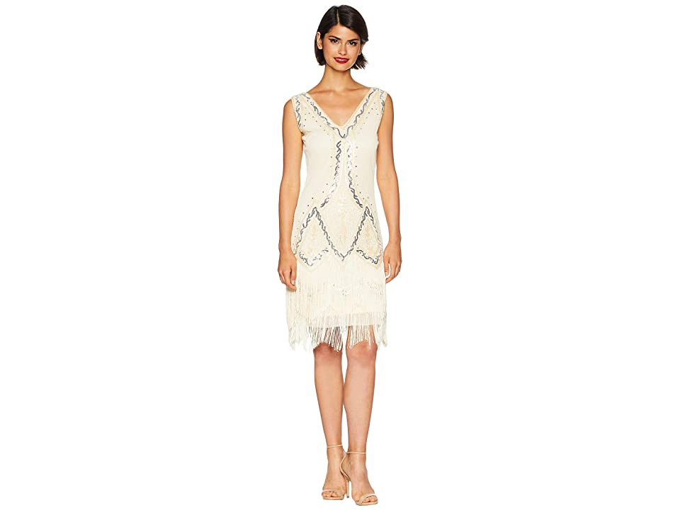 Unique Vintage 1920s Style Beaded Sylvie Flapper Dress (Cream) Women