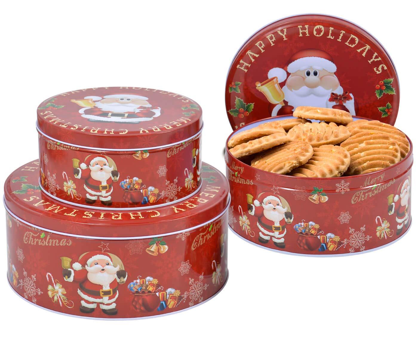 Set de 3 Latas de Galletas Rojo con Diseño Navideño y Merry Christmas Cajas Redondas de Metal Botes para Envasar Chocolates Decoración de Navidad: Amazon.es: Bricolaje y herramientas