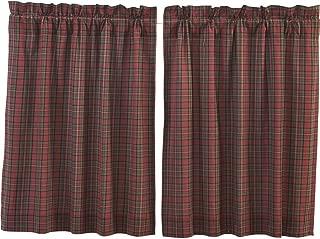 VHC Brands Primitive Rustic & Lodge Kitchen Window Curtains-Tartan Plaid Tier Pair, L36 x W36, Brick Red