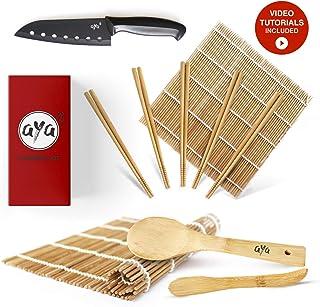 AYA Kit para Sushi - Kit en Bambú Cuchillo de Sushi – Videos Tutoriales en Línea - 2 Esterillas para Enrollar – Esterillas de Bambú 100% Natural de Primera Calidad.