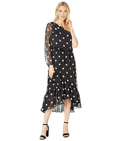 LAUREN Ralph Lauren Polka Dot One Shoulder Dress (Black/Silk White) Women