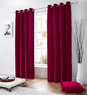HealthyBusiness1 1 Pc Velvet Lined Curtain Eyelet Panel Grommet Ringtop Luxurious Lined Curtain (Pink, 42