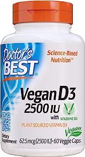 Doctor's Best Vitamin D3 2500IU with Vitashine D3, Non-GMO, Vegan, Gluten Free, Soy Free, Regulates Immune Function, Supports Healthy Bones, 60 Veggie Caps
