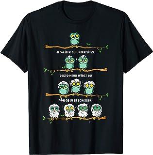 Fun Shirt Vögel Hierachie beschissen lustiges Eule Motiv