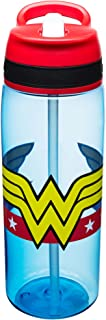 Zak! Designs Tritan Water Bottle with Flip-Up Spout and Straw featuring Wonder Woman Graphics, Break-resistant and BPA-free plastic, 25 oz.