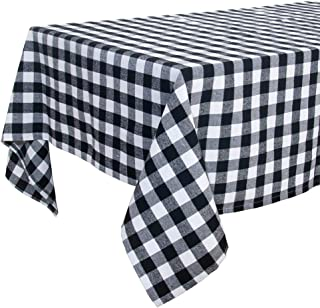 S-DEAL Buffalo Plaid Tablecloth Checked Table Cover Square 53x53 Inches Casual Gingham Cotton for Indoors Outdoors Party Decor Family Dinners Decor Gatherings Picnic Blanket Black and White