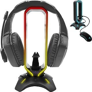 Tilted Nation - Soporte RGB para audífonos, con soporte de cable elástico para mouse, con HUB USB 3.0 para audífonos con cable o inalámbricos, para Xbox, PS4, PC