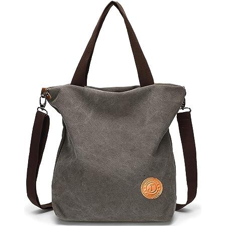JANSBEN Damen Canvas Handtasche Schultertasche Casual Multifunktionale Umhängetaschen Groß für Schule Shopper Lässige täglich (Grau)