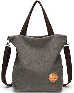 JANSBEN Damen Canvas Handtasche Schultertasche Casual Multifunktionale Umhängetaschen Groß für Arbeit Schule Shopper Lässige täglich Grau