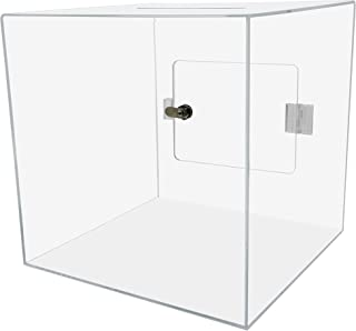 "Marketing Holders 12""W x 12""H Locking Ballot Box Clear Premium Acrylic Locking Suggestion Cube Pack of 1 Durable Carton Do..."