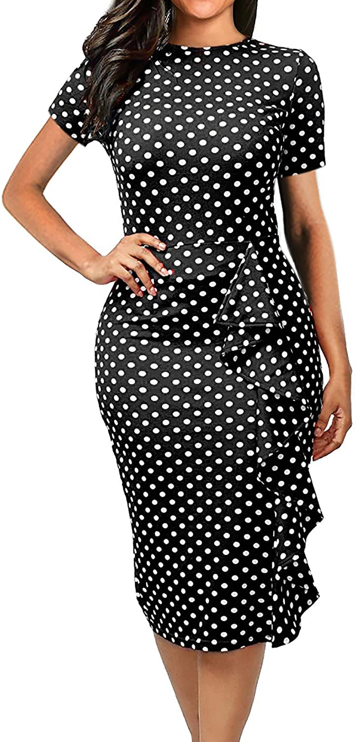 oxiuly Women's Vintage Polka Dot Floral Patchwork Stretchy Work Casual Bodycon Sheath Pencil Dress OX055