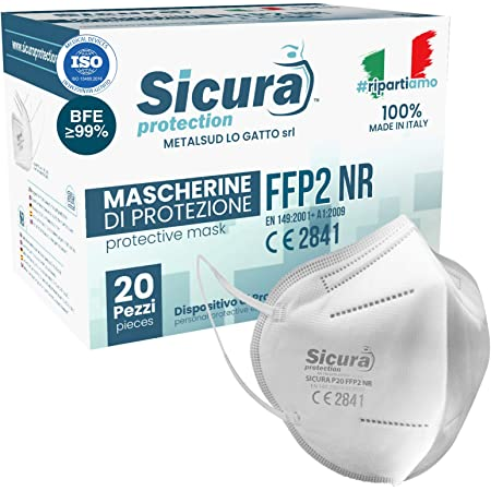 20 Mascherine FFP2 Certificate CE Italia Adulti BFE ≥99% Made in Italy. Mascherina ffp2 SANIFICATA e sigillata singolarmente. Certificata ISO Dispositivo Medico. Produzione italiana.
