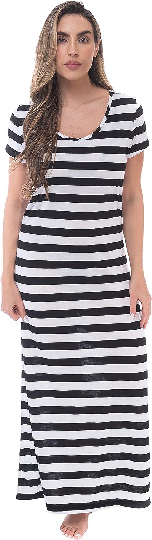 Just Love Womens Stripe Maxi Dress Knit Jersey T-Shirt Dress for Women