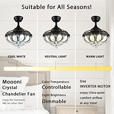 Moooni Fandelier Retractable Ceiling Fans with Lights and Remote Controller, Dimmalbe Crystal Chandelier Fan Light Kit 42 Inc