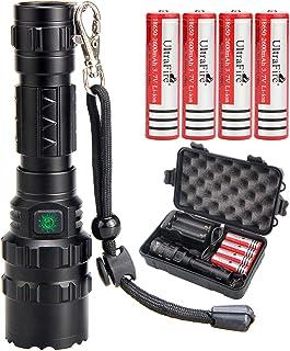 UltraFire 18650 Tactical Flashlight with 4PCS UFB26 3.7V Protected 2600mAh 18650..