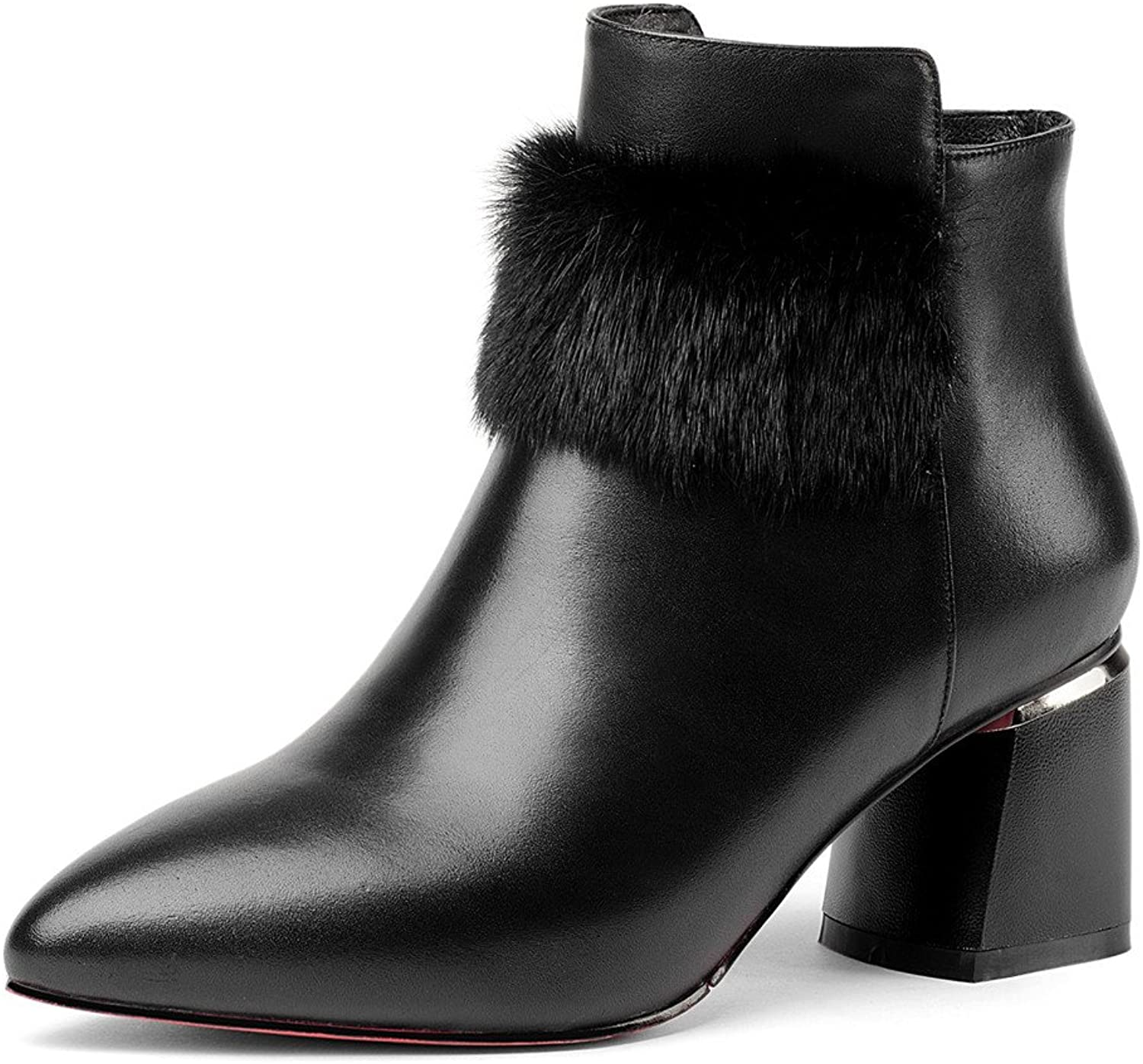 Nine Seven Cow Leather Women's Pointed Toe Block Heel Classic Handmade Ankle Boot with Fur