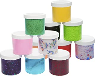 SCS Direct Slime Storage Jars 6oz (12 Pack) - Maddie Rae's Clear Containers for All Your Glue Putty Making