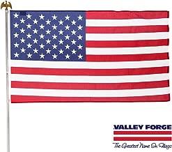 Valley Forge، مجموعة العلم الأمريكي، قطن بوليستر، 3 بوصات × 5 بوصات، 100% صنع في الولايات المتحدة الأمريكية، لجام مجوف، 6 بوصات دعامة عمودية فولاذية