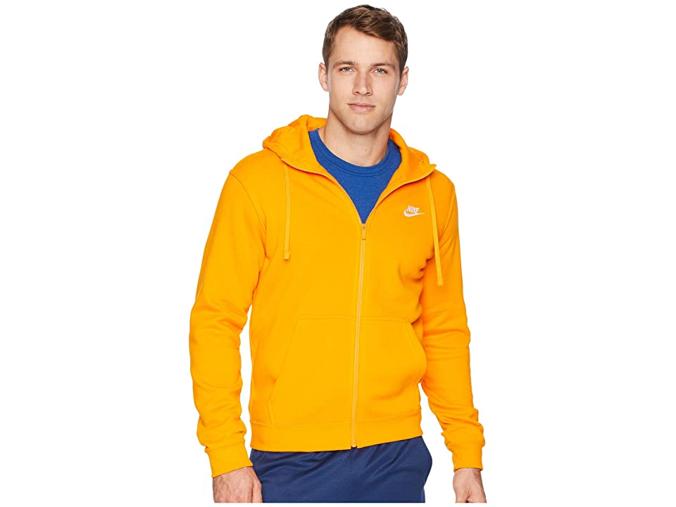 Nike Club Fleece Full-Zip Hoodie (Orange Peel/Orange Peel/White) Men