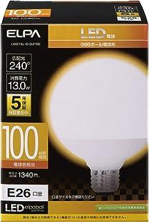 エルパ ( ELPA ) LED電球 ボール球形 G95 ( 口金E26 / 100W形 / 電球色 ) 5年保証 / 電球 (LDG13L-G-G2106)