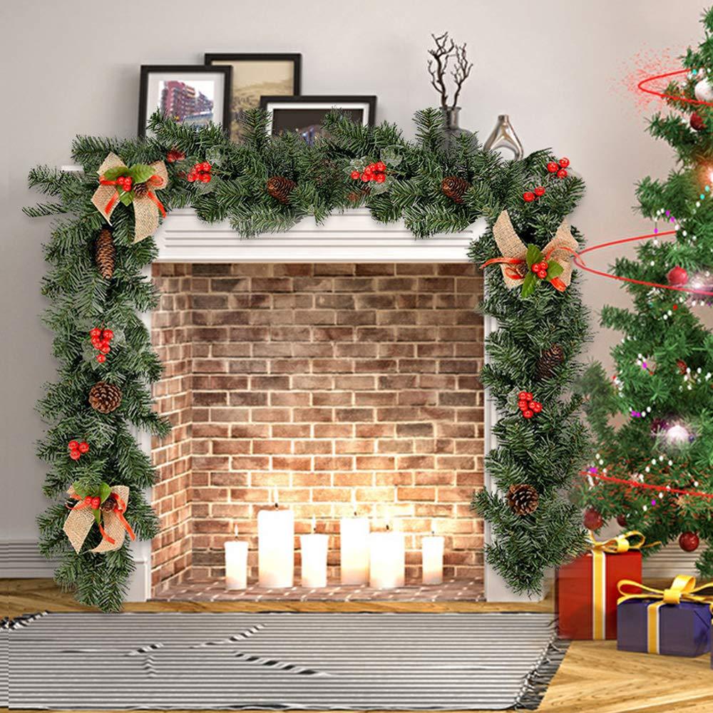 BOTTLEWISE Guirnaldas Navideñas para Chimeneas Escaleras Decoración de Navidad Artificial (B): Amazon.es: Hogar