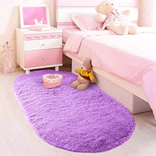 LOCHAS Ultra Soft Children Rugs Room Mat Modern Shaggy Area Rugs Home Decor 2.6' X 5.3', Purple