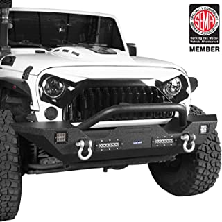 Hooke Road Jeep Wrangler Bumper, Offroad Front Bumper w/Winch Plate & 4X LED Lights for 07-18 Jeep Wrangler JK & Unlimited