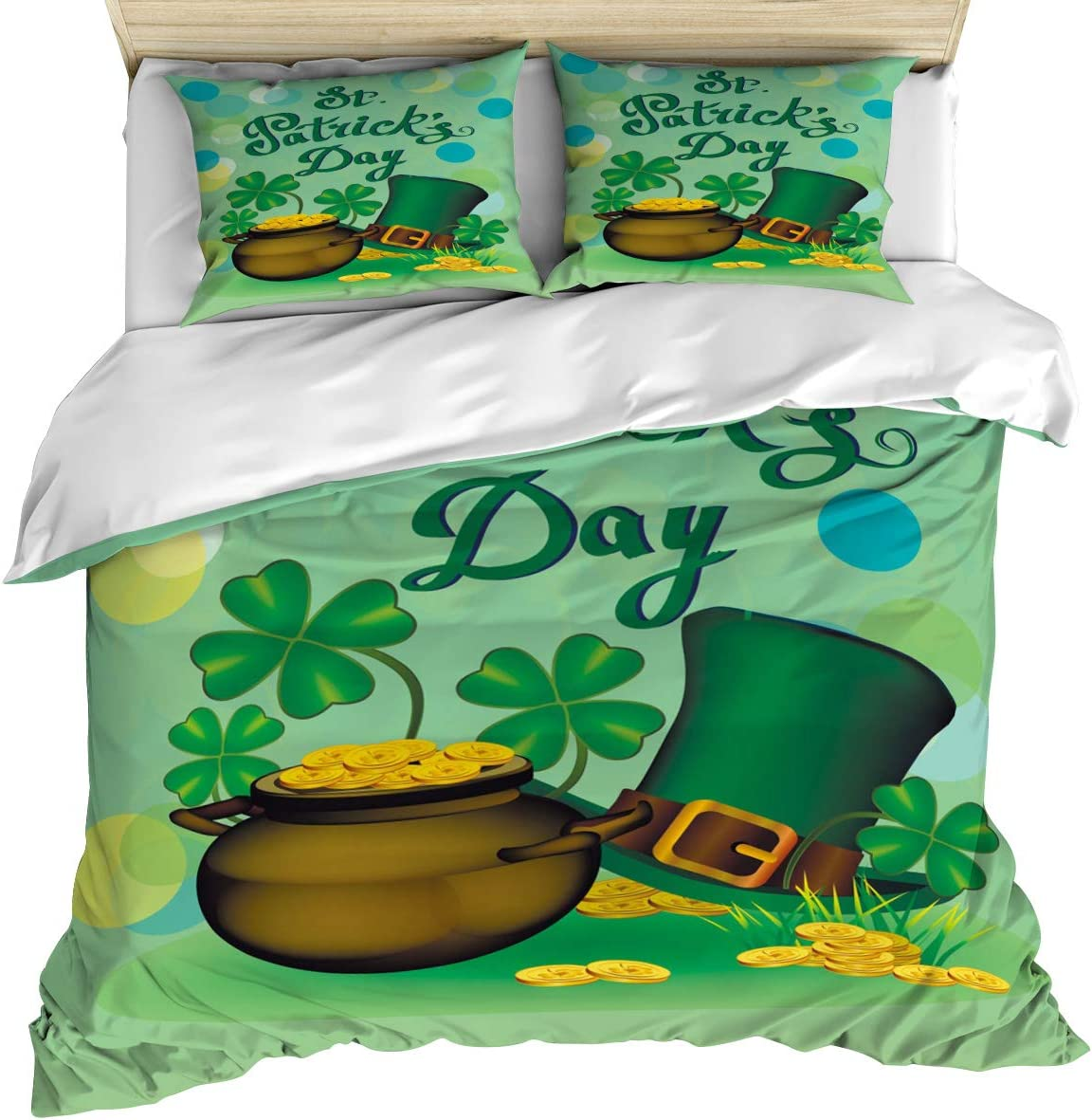 Quality inspection Luxury Bedding Duvet In stock Cover Queen Qu Gold Luck Clover Coins