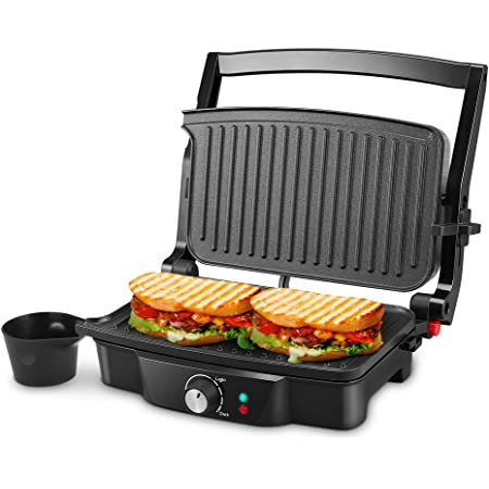 Panini Maker, iSiLER 4 Slice Panini Press Grill, Sandwich Maker Non-Stick Coated Plates, Opens 180 Degrees for Panini