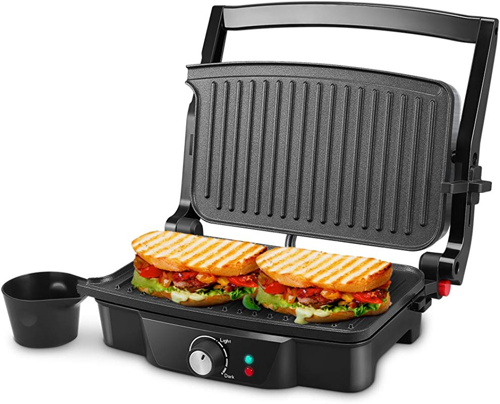 Panini Maker ISiLER 4 Slice Panini Press Grill Sandwich Maker With 2 Removable Drip Cups Non Stick Coated Plates Opens 180 Degrees For Panini Grilled Burgers Steaks Bacon
