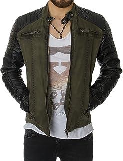 Redbridge Men's Leather Biker Jacket Olive Khaki Green Quilted R4151