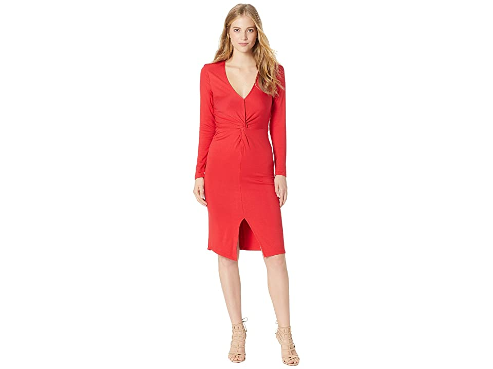 Cupcakes and Cashmere Janette Twist Detail Knit Dress (Salsa Red) Women