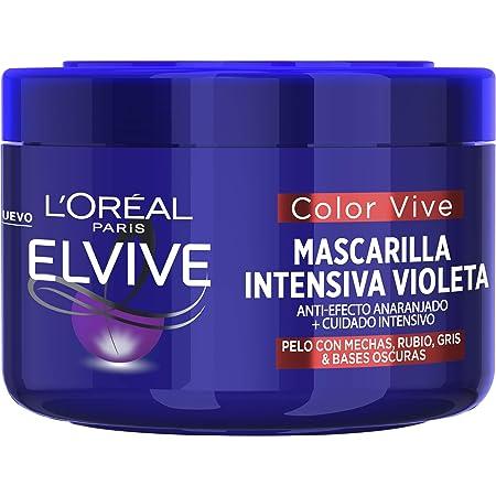L'Oreal Paris Elvive Color Vive Mascarilla Intensiva Violeta Matizadora, Para Pelo con Bases Oscuras, Mechas o Decolorado, 250 ml