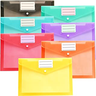 Youngever 21 Pack Plastic Envelopes Poly Envelopes, Clear Document Folders, US Letter A4 Size File Envelopes with Label Po...