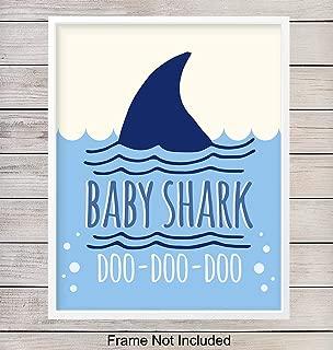 Baby Shark Nursery Art Print - Wall Art Poster - Chic Home Decor for Boys, Girls, Kids or Baby Room - Gift for Moms, Baby Shower - 8x10 Photo- Unframed