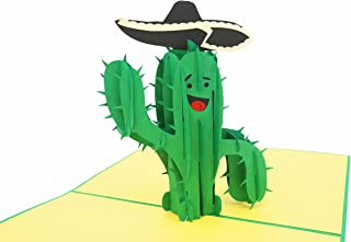 PopLife Funny Cactus 3D Pop Up Father's Day Card - Joke Birthday Pop Up - Folds Flat for Mailing - Grandkids Gift, Office Card, Congratulations, Just Because, Get Well, Cactus Gifts, Sombrero, Green