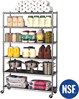 "Seville Classics UltraDurable Commercial-Grade 6-Tier NSF-Certified Steel Wire Shelving with Wheels, 48"" W x 18"" D x 72"" H, Chrome, x x"