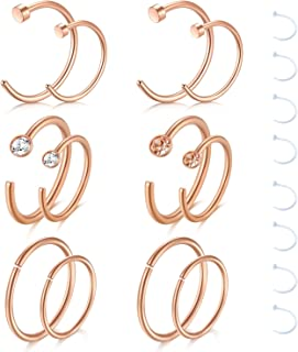 18G 20G Nose Rings Hoop Fake Faux Septum Nose Rings Surgical Steel Clip On Nose Ring Piercing Jewelry