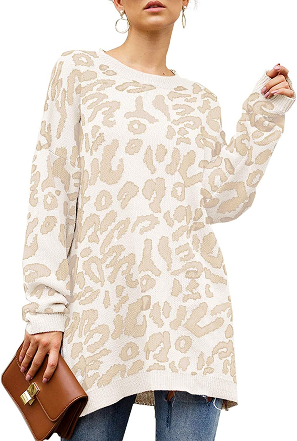 Très Chic Mailanda Women's Leopard Print Sweaters Pullover Oversized Long Sleeve Casual Loose Crew Neck Tunic Knitted Jumper