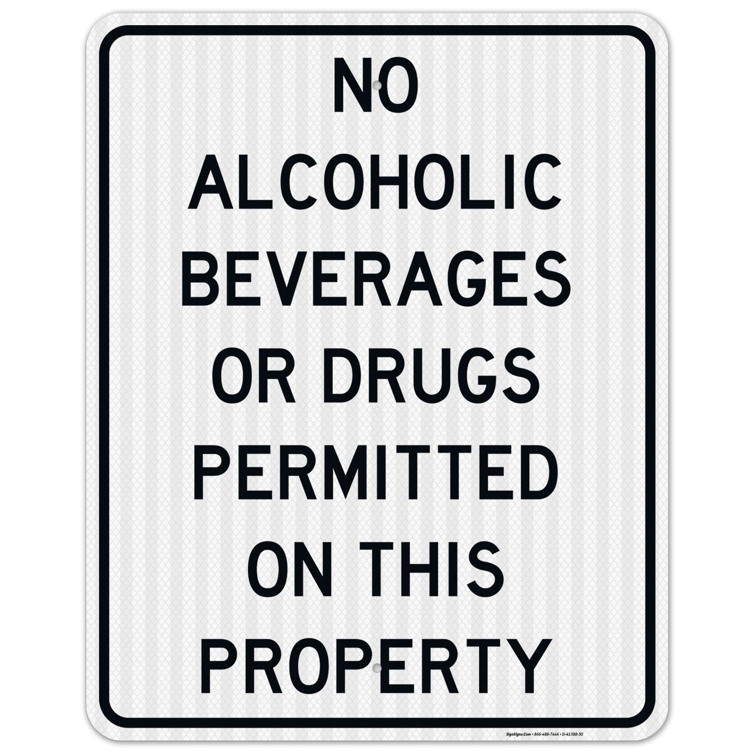 No Drugs Or Alcohol Sign 2021 autumn and winter new 24x30 .080 EGP Inches A Reflective Cheap 3M