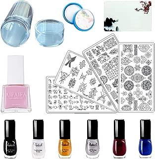 AIFAIFA 13PCS Nails Art Stamping Plate, Nail Stamping Plates Design Set, Nail Art Design Kits, with 4 Nail Stamping Plates, 6 Printed Nail Polish, Peel Off Latex Tape, Stamper, Cleaning Nail Towel