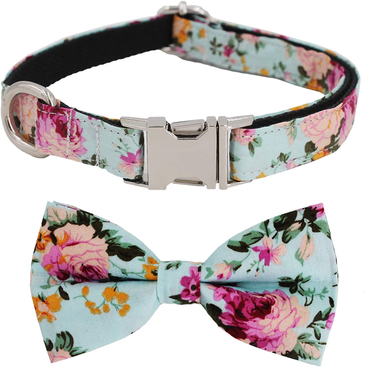 Free Sunday Vintage bluee Floral Dog Bow Tie Dog Colla for Small Dog, Medium Dog, Large Dog (bluee Floral, L(14''23'' Length))