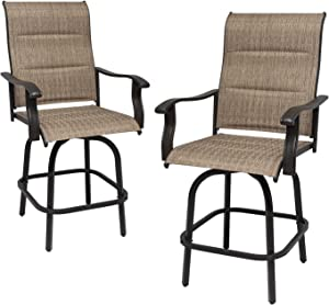 X&T Outdoor Bar Stools Set of 2, High Top Outdoor Bistro Set, 2 Padded High Patio Swivel Bar Chairs with Sling Fabric, All Weather Balcony Furniture