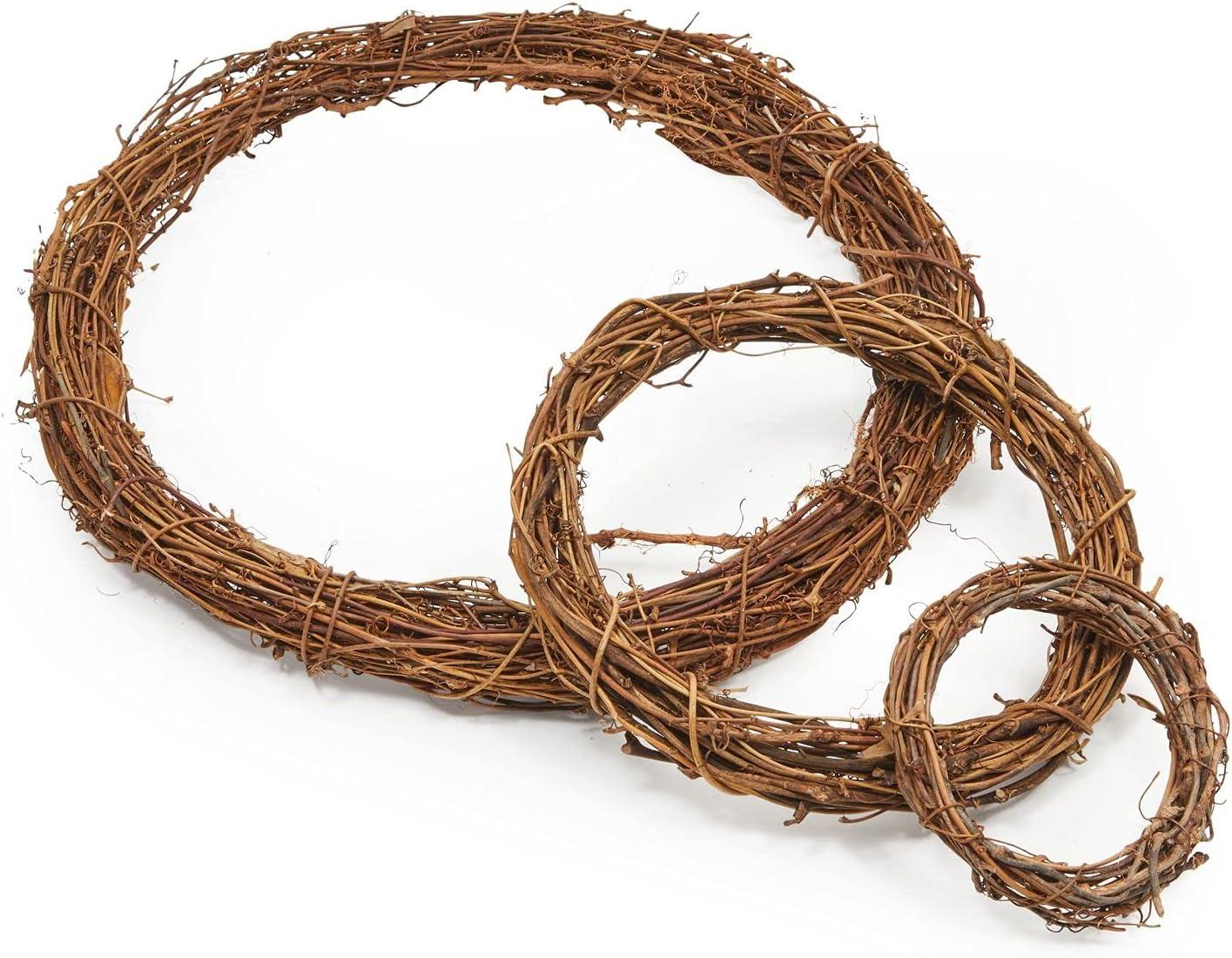 Grapevine Wreath Set, Vine Branch Farmhouse Decor for Crafts (3 Sizes, 3 Pack)