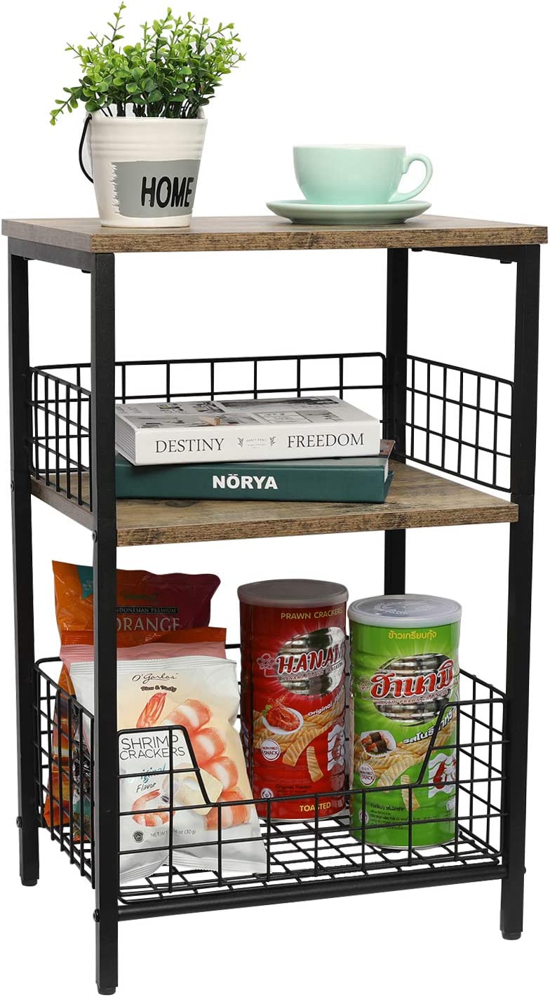 X-cosrack End Table,Industrial Retro Side Table Nightstand Storage Shelf for Living Room Bedroom Kitchen Family and Office,Stable Wood and Metal Frame(Rustic Brown&Black)